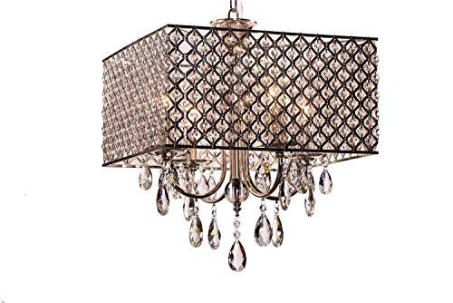 Moderno ed elegante 4 - Luci Pendant Light, lampadario lgiht con gocce di cristallo in piazza piuma soggiorno, sala da pranzo, camera da letto
