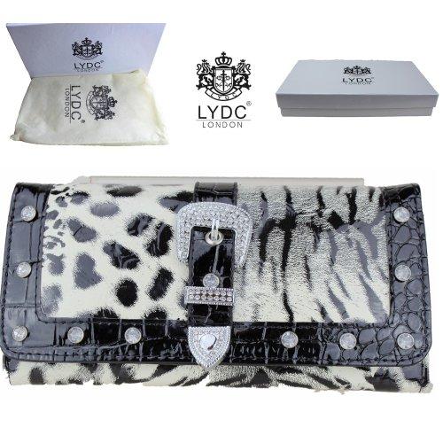 LYDC Barnizado Leopardo Diamante Mujeres Monedero Cocodrilo Animal Impreso Billetera en Caja de Regalo