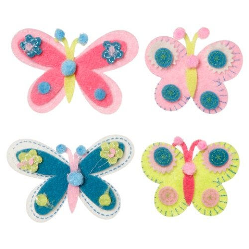 WeGlow International Felt Embellishment Pastel Color Butterflies, Set of 8
