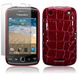 BLACKBERRY CURVE 9380 RED PU LEATHER CROCODILE SKIN HYBRID SNAP CASE / COVER / SHELL / SHIELD + SCREEN PROTECTOR PART OF THE QUBITS ACCESSORIES RANGEby Qubits