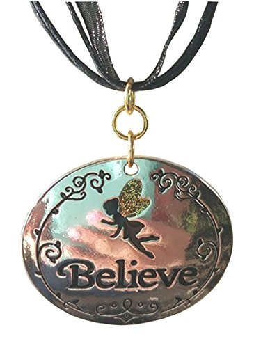 Tinkerbell Believe Silver Toned Pendant on a Black Ribbon Choker (Homemade Indian Boy Costumes)