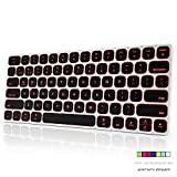 Airfox K30 Ultra Slim Ergonomic Seven Color Backlit LED Wireless Bluetooth Keyboard for for iOS, Android, Windows and Mac - Aluminum Alloy,Rechargeable Battery,Dual Mode