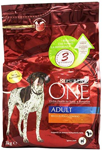 One - Alimento Completo per Cani Adulti, Ricco in Pollo con Riso , 3 kg