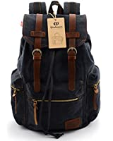 BLUBOON(TM) Vintage Men Casual Canvas Leather Backpack Rucksack Bookbag Satchel Hiking Bag
