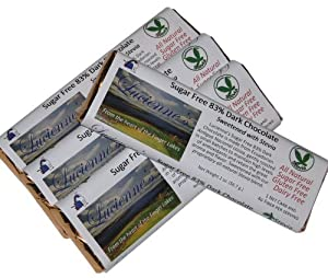 Lucienne's Sugar Free Chocolate, 4 - 2 Oz. Bars, Sweetened with Stevia. The Finest Quality Ecuadorian Chocolate. All Natural Ingredients. 83% Cocoa Chocolate.