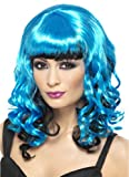 Smiffys Sexy Punk Emo Cosplay Costume Neon Blue Black Curly Wig