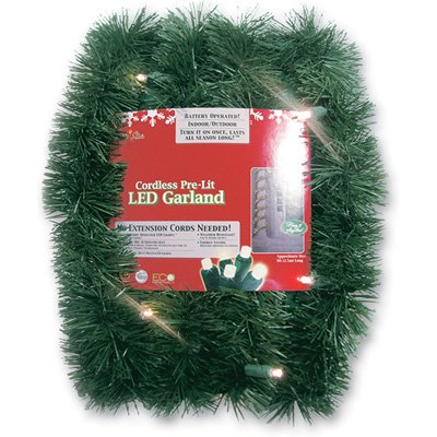 18' Pre-Lit Battery Operated Sparkling Artificial Christmas Garland - Warm White Led Lights