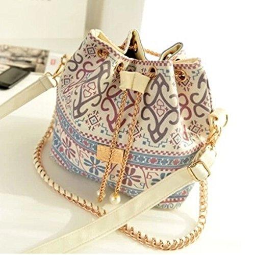 Women Retro Vintage Boho Ikat Bucket Cross Body Bag Shoulder Handbag Bucket Bag Satchel