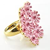 DaisyJewel LIMITED OFFER Size 7 Betsey Johnson Pink & Gold Flower Ring - Cherry Blossom Bouquet of Pink Enamel Sakura Daisies Ring with Crystal Flower Accents - Pre-Holiday Top Seller Sale