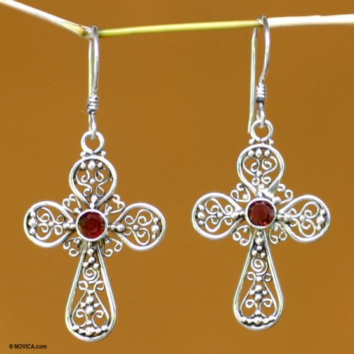 Garnet earrings, 'Floral Cross' 0.8