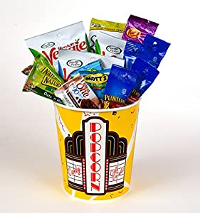 Coco Mill Guilt Free Healthy Movie Night Popcorn, Candy, & Snack Variety Gift Bucket- Perfect Gift for Friends, Thinking of You, Thank You- Includes, Sensible Portions®, Planters®, and Much More!