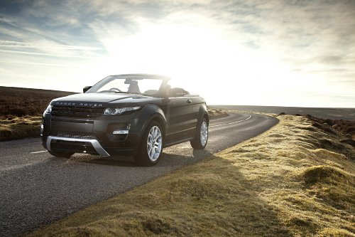 """Land Rover Range Rover Convertible (2012) Concept Car Art Poster Print On 10 Mil Archival Satin Paper Black Front Side Static View 16""""X12"""""""