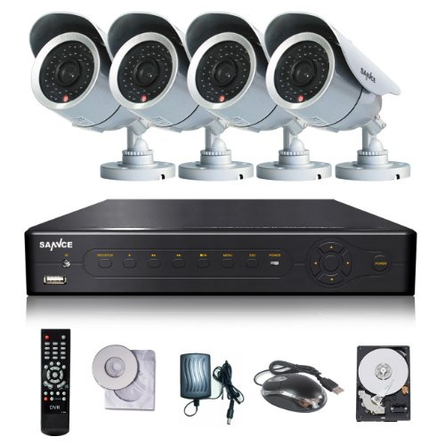Sannce 8 Channel Video Dvr Security Camera System With 4 Outdoor 700Tvl 42 Leds High Resolution Ir-Cut Day/Night Weatherproof Surveillance Cameras With 500Gb Hard Drive ( Silver )