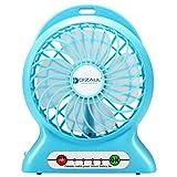 扇風機 Dizaul卓上USBファン 充電式電池付属 モバイルバッテリー機能付き 強力風量 3段階風力調節 デスク小型サーキュレーター 携行便利 省エネルギ(ブルー)