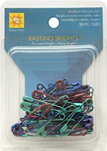 Wrights 670160 Basting Brights Multicolor Safety Pins, 50-Pack