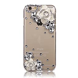 iPhone 5C Case, STENES Luxurious Crystal 3D Handmade Sparkle Diamond Rhinestone Clear Cover with Retro Bowknot Anti Dust Plug - Camellia Flowers / White