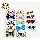CatYou 14-PCS Variety Patterns Pet Hairpin Bowknot Ribbon Headdress Glasses Hair Pins, Metal Clip, For Dog Cat...