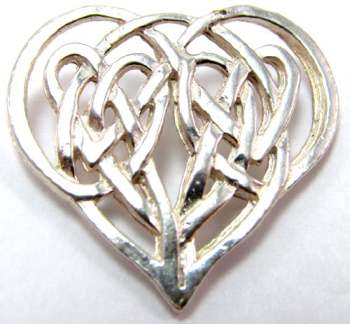 Sterling Silver Celtic Traditional Heart Shaped Love Knot Heart Pin