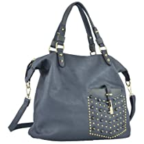 MG Collection BRIELLE Gray Shopper Style Gold / Gothic Studded Hobo Tote Handbag
