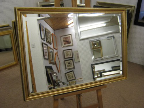 NEW LARGE SLIGHTLY ORNATE GOLD BEVEL OVERMANTLE WALL MIRROR 40