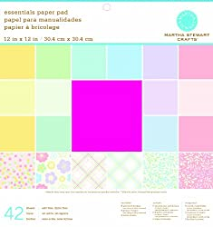 Martha Stewart Crafts Paper Pad, Pastels, 12 by 12 inches, 42 Sheets