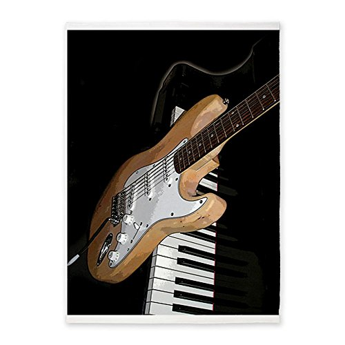 Cafepress Electric Guitar And Piano Large Rug 5'X7'Area Rug - Standard White