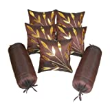 Zikrak Exim Brown Bolster & Cushion Cover Red 7 Pcs Set 30 X 60 Cms(bolster), 30 X 30 Cms (cushion)