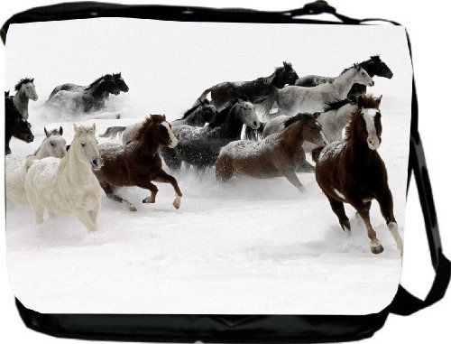 Galloping Horses in Snow Design Messenger Bag &#8211; School Bag &#8211; Laptop Bag &#8211; Reporter Bag &#8211; Unisex &#8211; Ideal Gift for all occassions!