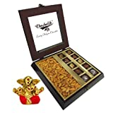 Chocholik Premium Gifts - Tempting Chocolate Box With Almonds With Small Ganesha Idol - Diwali Gifts