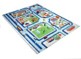 Little Helper IVI Exclusive Thick 3D Childrens Play Mat & Rug in a Colourful Town Design with 3 Dimensional Football Pitch, Car Parks & Roads, Blue (80 x 100cm)