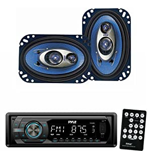 Pyle Audio Radio Player and Speaker Package - PLR44MU In-Dash AM/FM-MPX Detachable Face Receiver With MP3 Playback & USB/SD/Aux Inputs - PL463BL 4'' x 6'' 240 Watt Three-Way Speakers (Pair)