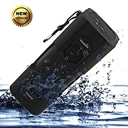 Bluetooth Speakers Waterproof Bluesim® Outdoor Speaker with NFC Function Built in Mic for iPhone 6 6Plus, iPad,Galaxy S6, LG and Android Tablets PC ,Laptop(Black)