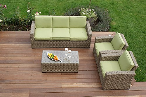 Aston 3-Sitzer-Sofa, Rattan-Gartenmöbel-Kissen grün