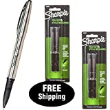 Sharpie Stainless Steel Pen 1800702 with 2 Packs Refills 1800730, Black Ink, Fine Point