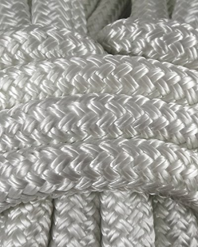 Miami Cordage NYB12508 Nylon Double Braid 1/2 in x 50 ft White Marine Grade Nylon Ropes