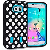Accessory Planet(TM) Polka Dot Baby Blue Hybrid Heavy Duty Deluxe Hard/Soft Case Cover with Built in Screen Protector...