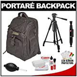 Portare' Multi-Use Laptop /iPad/Digital SLR Camera Backpack Case (Black) + 57 Tripod + Cleaning Kit for Canon EOS 7D, 5D Mark II III, 60D, Rebel T3, T3i, T2i Digital SLR Cameras