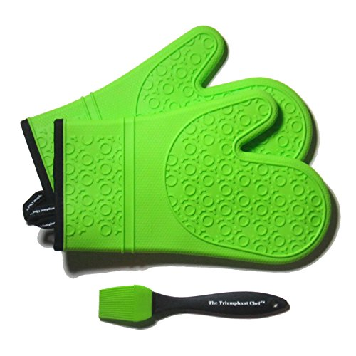 Super Flex Silicone Oven Mitt, Deluxe Quilted Liner, 1 Pair, Lime Green, Bonus Sauce Brush (Fat Chef Kitchen Stuff compare prices)