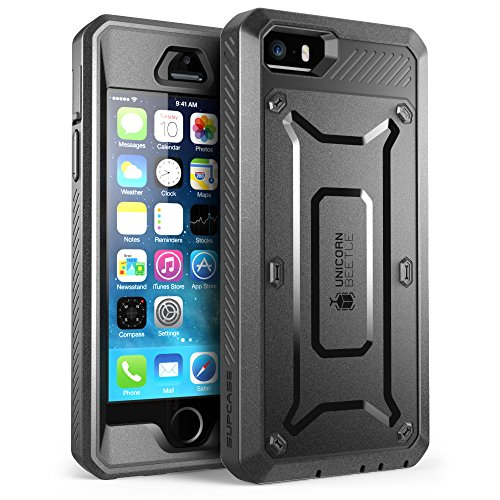 iPhone 5S Case, SUPCASE [Heavy Duty Belt Clip Holster] Apple iPhone 5S Case Compatible with iPhone 5 [Unicorn Beetle PRO Series] Full-body Rugged Hybrid Protective Cover with Built-in Screen Protector (Black/Black), Dual Layer Design + Impact Resistant Bumper (Iphone 5 Case With Clip compare prices)
