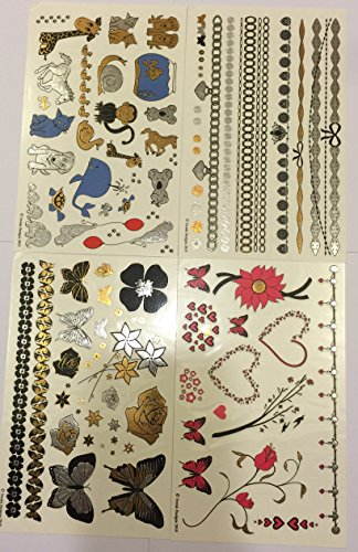 Temporary-Tattoos-4-Pages-of-Metallic-Temporary-Tattoos-for-Kids-Girls-Black-Silver-Pink-Blue-Gold-Tattoo-Jewelry-Animals-Butterflies-Bracelets-Flowers-Hearts-More-Twink-Designs