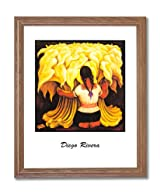 Diego Rivera Braids Lady Flower Contemporary Home Decor Wall Picture Oak Framed Art Print