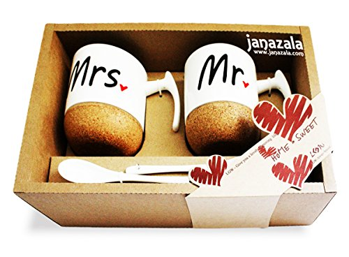 Janazala Mr and Mrs Ceramic Coffee Mugs Set of 2 - Novelty Mr and Mrs Coffee Tea Cups 9.5 oz With Cork Bottom. Comes In A Gift Box, For Parents, Anniversary, Mom and Dad, Couples (Mr And Mrs Coffee Mugs compare prices)