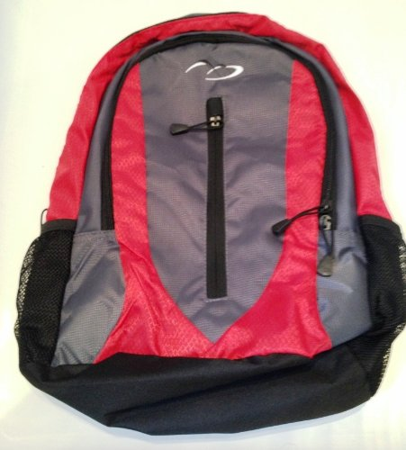 Daypack - School College Work Travel Gym Hiking Backpack Rucksack Bag (Red and Black)