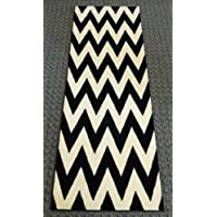 Chevron Runner Rug 32 Inch X 7 Feet 4 Inch Design # S260 Black