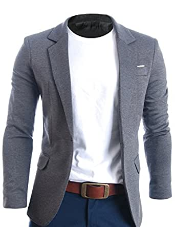 FLATSEVEN Mens Slim Fit Casual Premium Blazer Jacket Grey, L (EU 52)