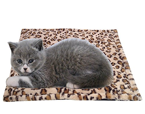 New Thermal Cat Mat Bed with Beige Leopard Print 22″ x 18″ From RAPID SPIRIT – Self Warming Pad with Anti-Slip Backing!
