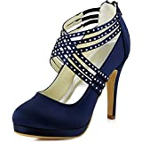 ElegantPark EP11085-PF Women's High Heel Plaform Cross-strap Satin Prom Bridal Shoes Navy Blue US 8