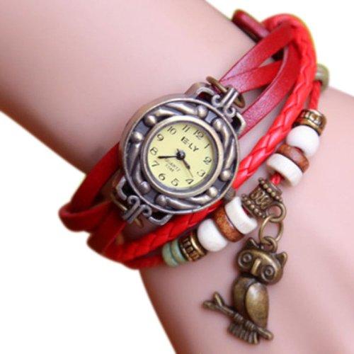 Zps 1Pc Vintage Womens Leather Quartz Owl Pendant Bead Bracelet Bangle Wrist Watch Red