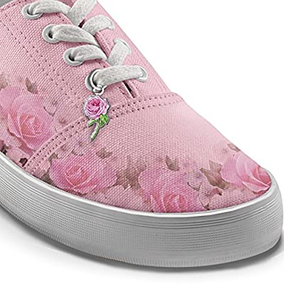 Blush Of Beauty Women's Pink Canvas Flower Shoes by The Bradford Exchange