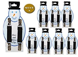 Mitten Clips - With Metal Snowman Clip Design (BROWN) - Great for back to School -8 PK